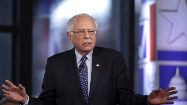 Not apologising: Senator Bernie Sanders speaks during a Fox News town-hall style event.