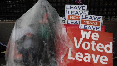 Pro-Brexit leave the European Union supporters take part in a protest in London.