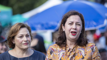 Queensland Premier Annastacia Palaszczuk (right) and Queensland Deputy Premier Jackie Trad speaking to reporters at the Greek Paniyiri Festival in Brisbane on Sunday.