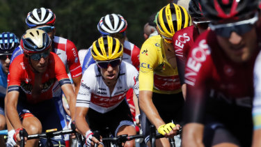Australia's Richie Porte rides with the peloton.