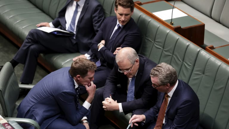 Attorney-General Christian Porter, chairman of the intelligence committee Andrew Hastie, Prime Minister Scott Morrison and Defence Minister Christopher Pyne in the House of Representatives on Thursday.