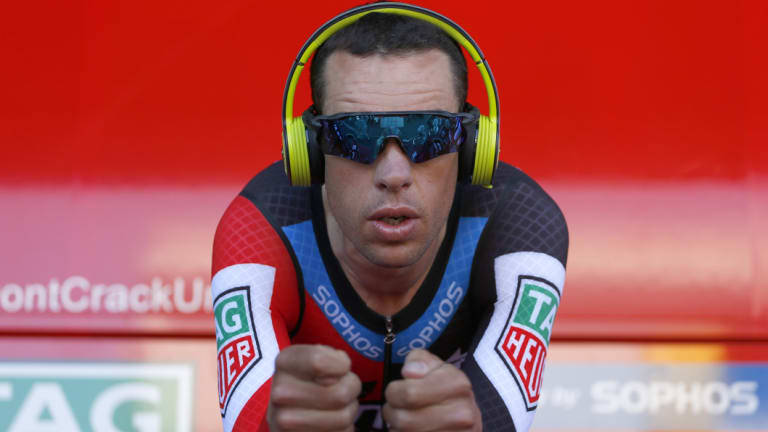 Speed demon: Richie Porte warms up in France.
