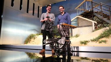 Queensland Theatre artistic director Sam Strong and Brisbane's Dead Puppet Society designer David Morton with Mr Percival.