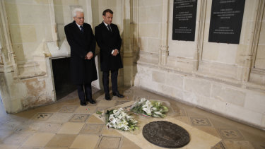 French President Emmanuel Macron and Italian President Sergio Mattarella pay their respects at the tomb of Leonardo da Vinci at St Hubert Chapel in Chateau d'Amboise.