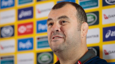 Michael Cheika fronts the media in Perth on Thursday.