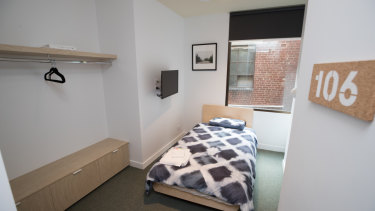 A bedroom at newly renovated homeless shelter.
