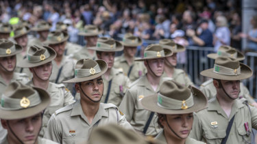 Soldiers march during the Anzac Day parade in Brisbane