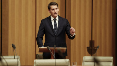 Liberal MP Andrew Hastie speaks in the Federation Chamber at Parliament House.