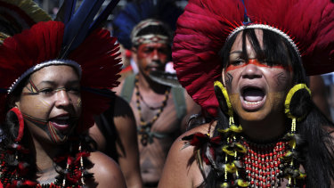 Indigenous women chant against the government of Brazil's President Jair Bolsonaro during a protest on the Day of Mobilisation of Indigenous Students in Brasilia earlier this month.