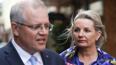 Scott Morrison and Sussan Ley, one of the female MPs he may promote to cabinet.