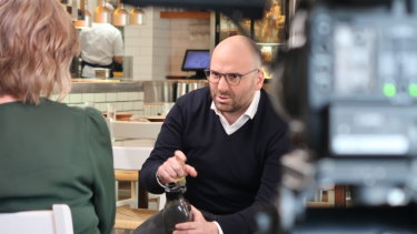 George Calombaris is interviewed by 7.30's Leigh Sales.