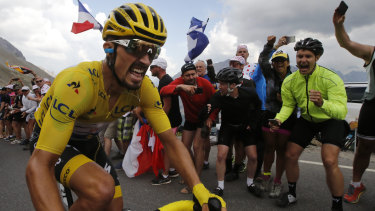 Agonising ascent: Tour leader Julian Alaphilippe climbs the Galibier pass during the 18th stage over 208 kilometres from Embrun to Valloire.
