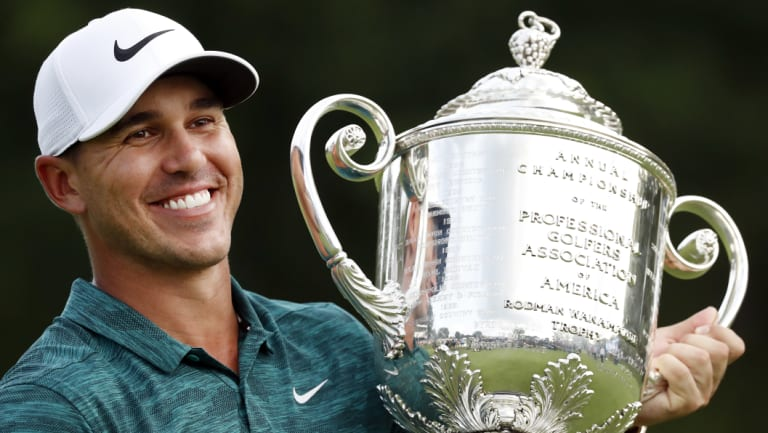 On the rise: Only one golfer now stands between Brooks Koepka and the world No.1 ranking.