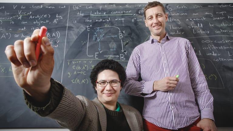 Australian National University PhD student Ivo Vekemans and Associate Professor Scott Morrison both prefer using blackboards to communicate complicated ideas to their peers.