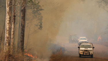 Firefighters battle bushfires in Busbys Flat, northern NSW, Wednesday.
