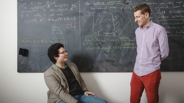 Australian National University PhD student Ivo Vekemans explains his work in infinity categories to Associate Professor Scott Morrison.