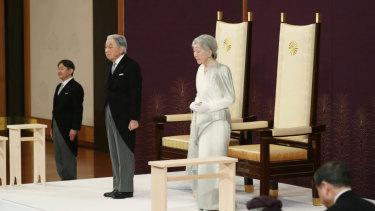 Japan's Emperor Akihito and Empress Michiko at his abdication.