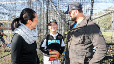 Parents Belinda and Chris Vella with Little League player, son Lachlan.