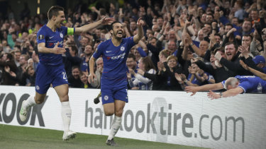 Chelsea's Pedro (centre) celebrates a goal in their Europa League match.