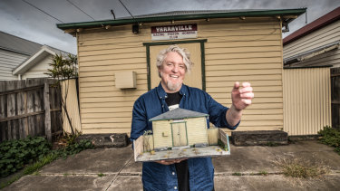 Artist David Hourigan outside an old pigeon racing club in Yarraville that he has replicated in 1:20 scale.