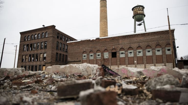 Rubble lies in front of a derelict industrial building in Wilkes-Barre, in 2017 when Tom Pikas, a 61-year-old Wilkes-Barre native, was counting on Trump to bring change.