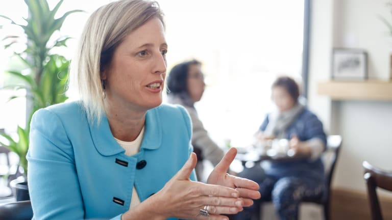 Katy Gallagher at The Front cafe in Lyneham on Friday talking about her decision to run again for the Senate.