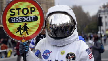 A demonstrator pictured during a Peoples Vote anti-Brexit march in London on Saturday.
