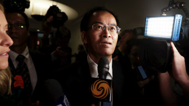Mr Jingye faced questions from the waiting media at Parliament House on Tuesday.
