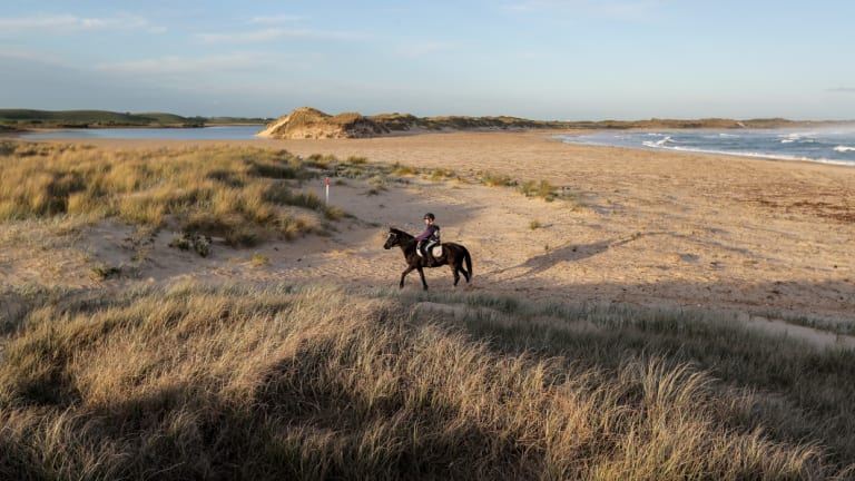Recreational rider Isla Reilly, 9, makes her way off the Belfast Coastal Reserve.