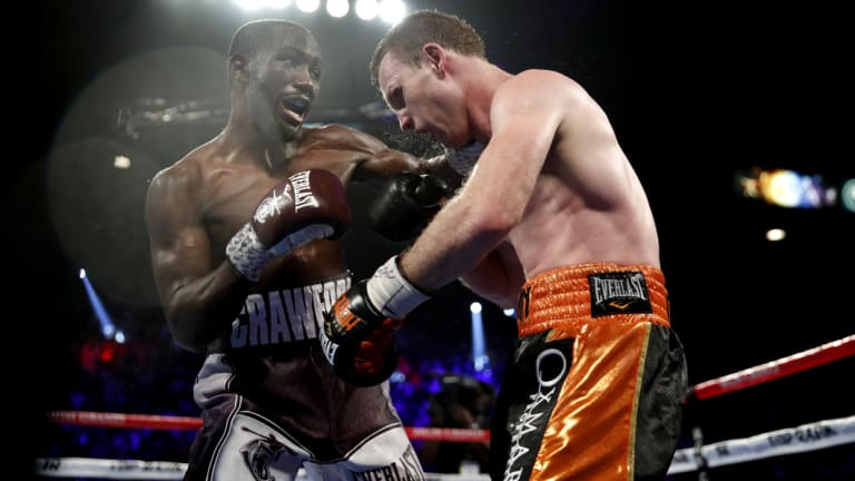 Punishment: Crawford out-classed his Aussie opponent on Sunday.