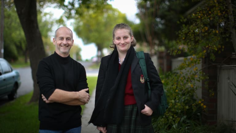 David Bonnett and his daughter Fiona, who is in Year 11 at Camberwell High. She has moved from an independent school to a state high school.