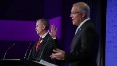Bill Shorten and Scott Morrison face off at the last leaders' debate.