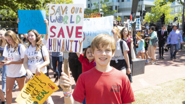 North Ainslie primary student George Breusch, 10, skipped school to attend the rally.