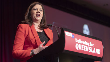 Annastacia Palaszczuk speaks at the annual Labor state conference at the Brisbane Convention and Exhibition Centre.