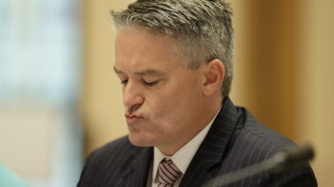 Minister for Finance Mathias Cormann during a Senate estimates hearing on Tuesday.