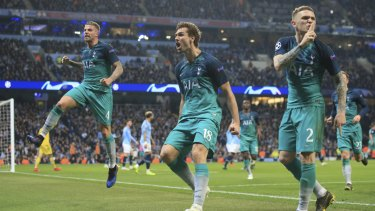 Tottenham's Fernando Llorente (centre) celebrates the Spurs' third goal. They went through on away goals.