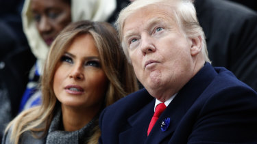 Donald Trump with his wife Melania at the armistice day event in Paris.