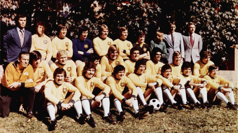 The Australian soccer team for the 1974 World Cup, pictured at Wahroonga, NSW.