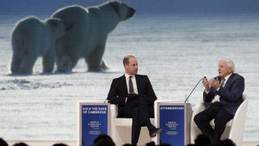Prince William and Sir David Attenborough at Davos.