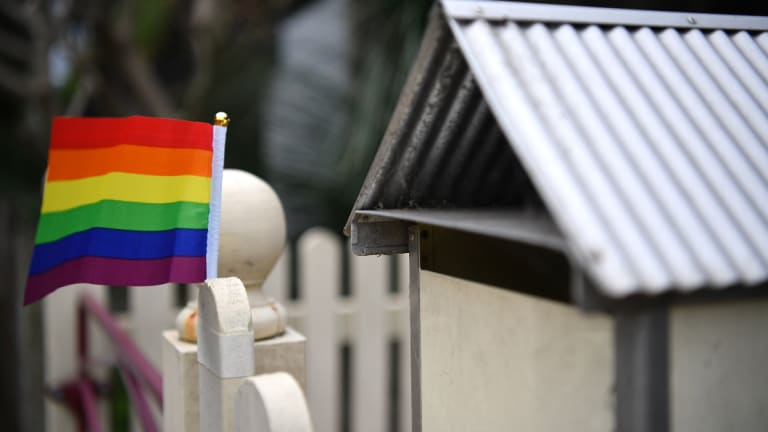 The incident was sparked by a rainbow flag outside the neighbour's home.