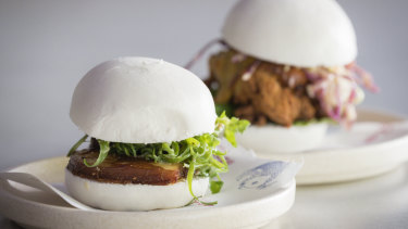 Pork belly bao and buttermilk fried chicken bao from Lazy-Su.