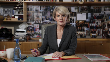 Julie Bishop in her former ministerial office at Parliament House in Canberra.