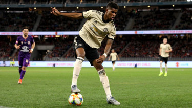 Marcus Rashford shows the Perth faithful what he's made of on Saturday.  His Manchester United next face English rivals Leeds.