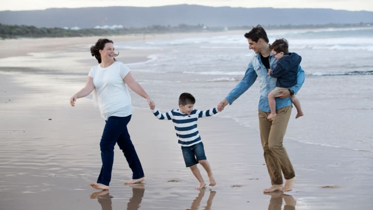 """Gabrielle and Andrew Micaleff with David and Joshua. """"Gab's illness brought us closer together,"""" says Andrew."""
