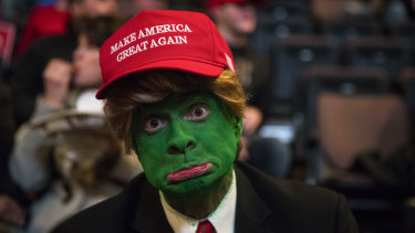 A man wearing face paint to resemble Pepe the Frog ahead of a rally for President-elect Donald Trump in 2016.