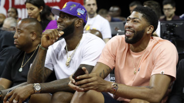 Anthony Davis (right) has flown the Pelicans to join LeBron James (left) at the Lakers.