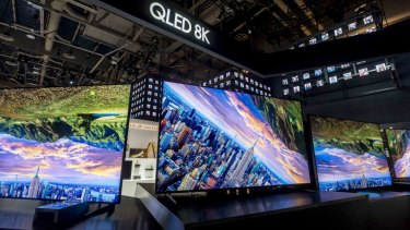 Samsung 8K LCD TVs at CES in Las Vegas.