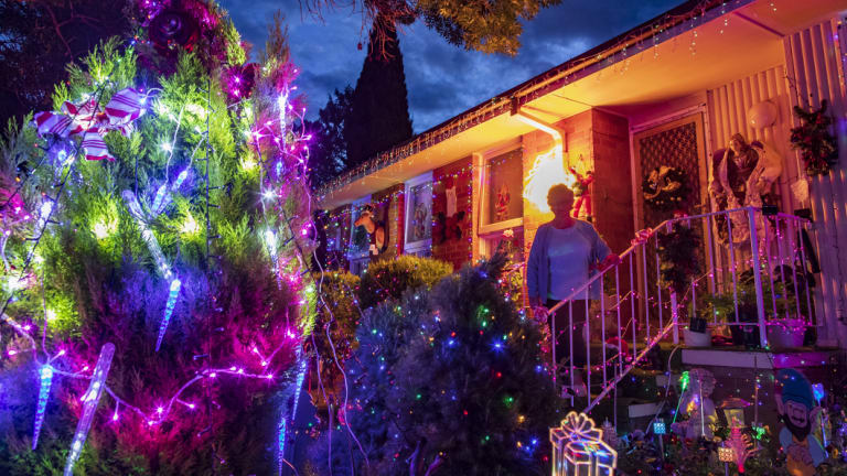 Bev Lucas believes it is the first time this house in Chifley has had Christmas decorations in 67 years.