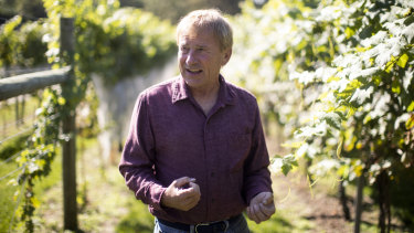 Grapegrower Dean Scott has had to spray his vines to try to save some grapes from the lanterfly invasion.