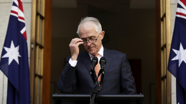 Former prime minister Malcolm Turnbull at his last press conference as leader.